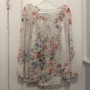 whbm Stunning sheer floral tunic blouse 2 piece 6